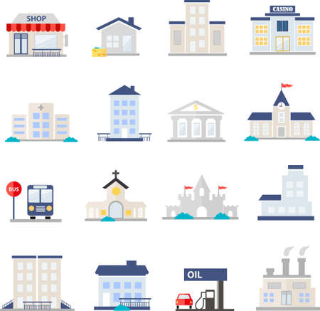 works: icons set of places in flat design