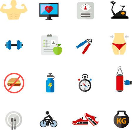 fitness and health: Fitness icona di salute in design piatto
