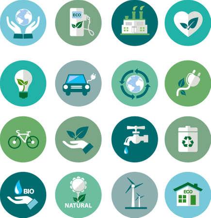 vlakke pictogrammen van de ecologie