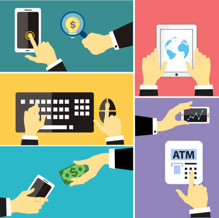pay money: Vector Set of business hands action in flat style