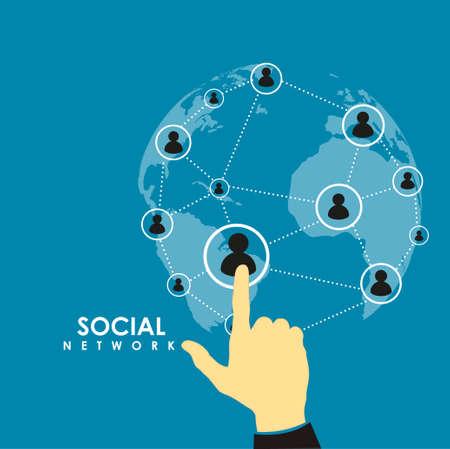 social relation: Flat design vector hand pressing social network icon on blue background Illustration