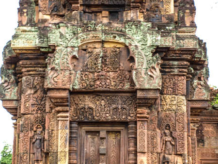 lintel: Cambodia Angkor Wat Khmer Asia tourist attraction pathway View Castle Rock archaeologicalsite door arch lintel Carvings 2 Stock Photo