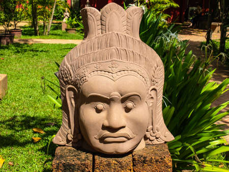 centers: Cambodia Angkor Wat Khmer Asia tourist attraction pathway View Craft Centre Crafts centers crafts Wood carving Carver head angel 1