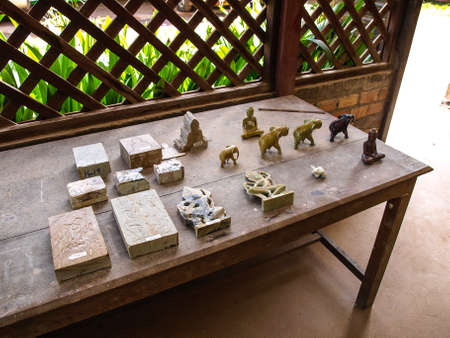 centers: Cambodia Angkor Wat Khmer Asia tourist attraction pathway View Craft Centre Crafts centers crafts Wood carving