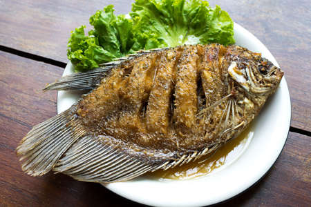 gourami: Fried fish with fish sauce, Giant gourami