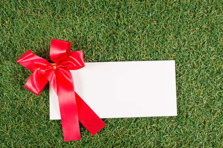 christmas grounds: The white letter and a red ribbon on the grass ground