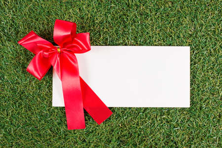 christmas grounds: The white letter and a big ribbon on the grass background