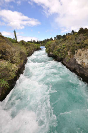 upstream: Huka falls on the Waikato River, New Zealand
