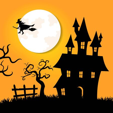halloween greeting car in paper cut style