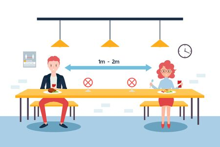 Social distancing concept illustration showing people in a canteen