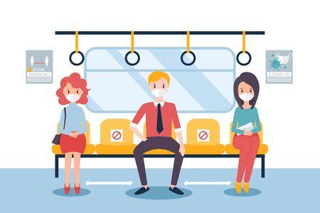 Social distancing concept for covid-19 with people in a train Vektoros illusztráció