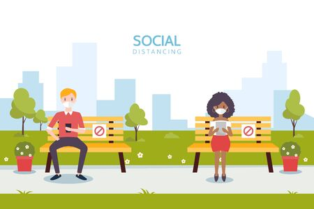 Social distancing concept illustration showing people in a park