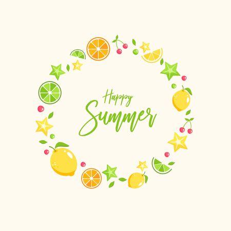 Illustration of fruit frame for summer