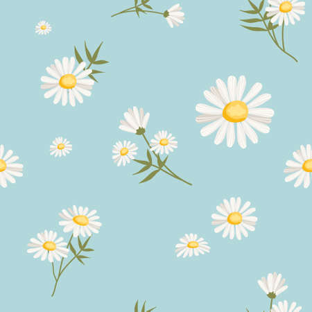 Seamless pattern with daisies on blue Vector Illustratie