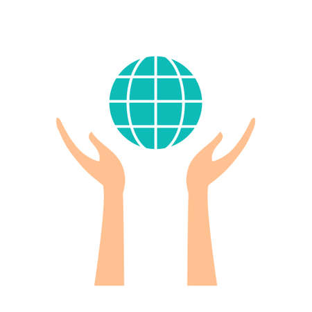 Isolated hands holding a globe on white gackground Vectores