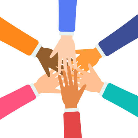 Isolated hands in different colors holding together on white background Vectores