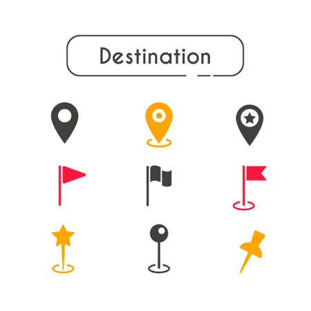 Set of icons for location and map indication