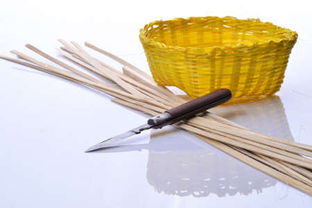 Knife with hone colorful bamboo line