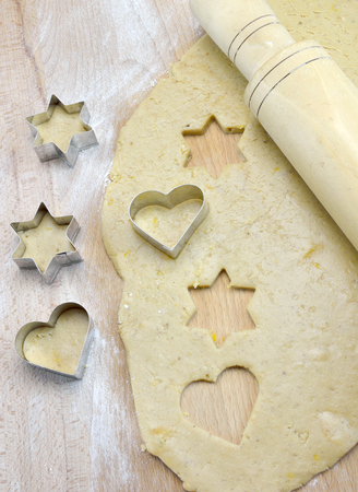 Dough and stars and hearts biscuit cutter