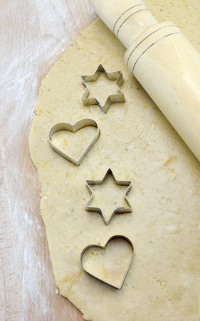 Heart and Star biscuit cutters on dough