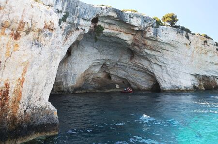 Swimming in Blue Caves in Zakynthos, Greece