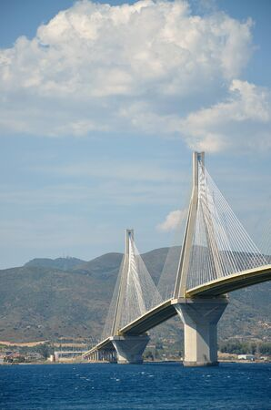 Rio Antirio cable-stayed bridge, view from the sea Фото со стока