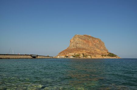 Rock of Monemvasia and the bridge which connect it with the mainland