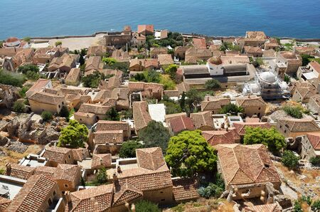 View of  Monemvasia's  stone houses from hillside