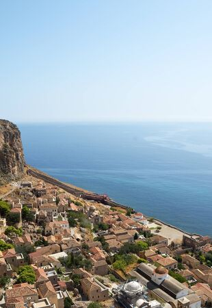 View of  Monemvasia's  stone houses and Myrtoon sea from hillside