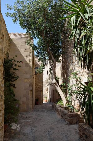 Narrow paved pathway in fortress –town Monemvasia , Laconia, Greece