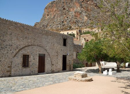 The main square of Monemvasia with the old cannon in the center