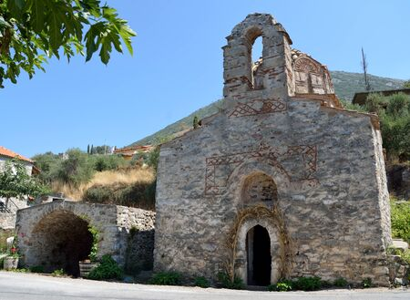 Old  from Byzantine time church of Agii Anargyri in Nomitsi, Mesiniaki Mani , Greece