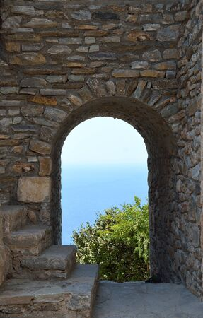 Architectural detail of tower house in Vathia ,Mani Greece