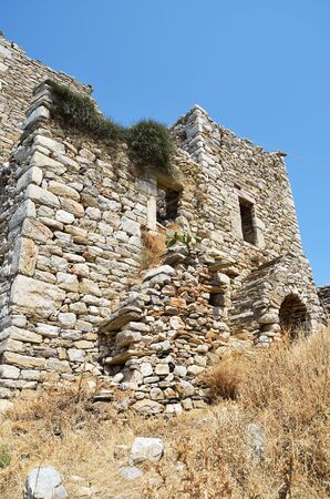 Ruins of tower house in Vathia Mani, Greece