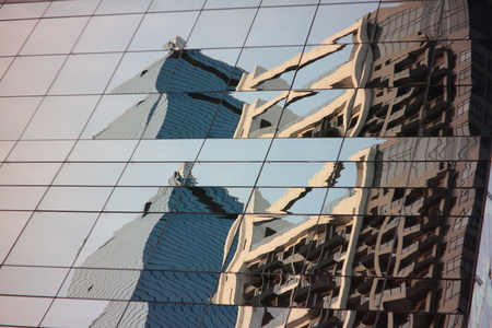 Abstract reflect on curtain window business tower Banco de Imagens