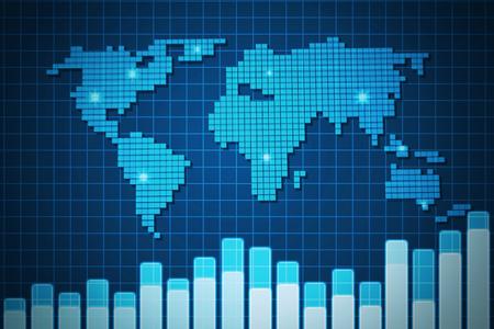 Blue screen digital world map and volump chart on grid background blue screen digital world map and volump chart on grid backgroundillustration stock illustration gumiabroncs Choice Image