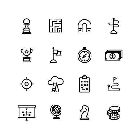 Strategy Business Corporate Finance Icon Set Иллюстрация