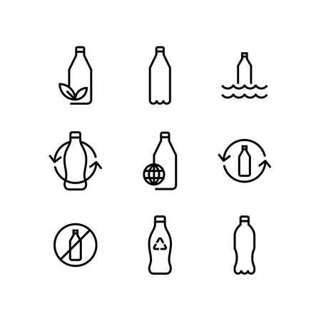 Recycle Plastic Bottle Eco Icon Set