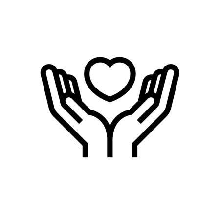 Charity Volunteer Collaboration Heart Love Hands Icon Logo Illustration