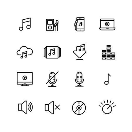 Audio Music Player, Volume, Icon Set Ilustração