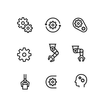 Automation, Manufacturing, Engineer, Production Gear Icon Set