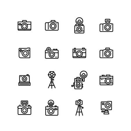 Vintage Retro Photography Camera Icon Set Ilustracja