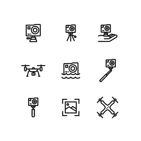 Action Camera Extreme GoPro Drone Icon Set Illustration