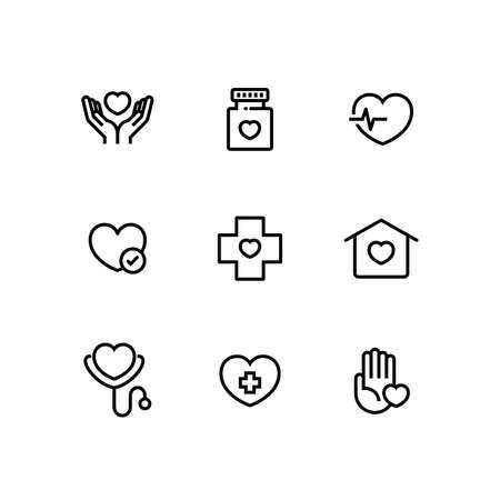 Health Care Cardiology Medicine Icon Set Illustration