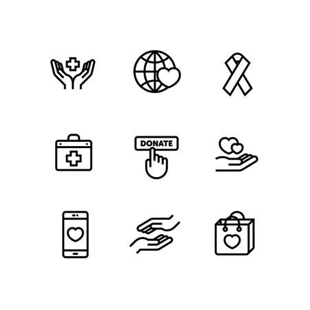 Donation Volunteer Charity Fundraising Icon Set