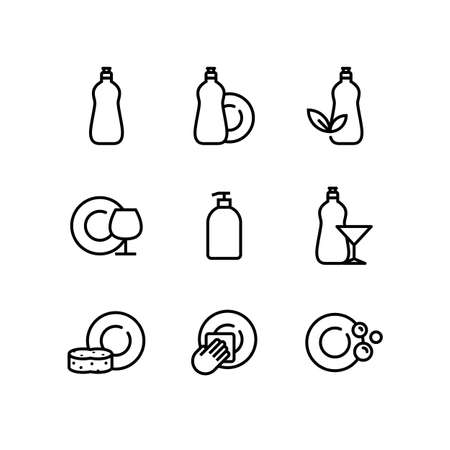 Conjunto de iconos de detergente de jabón líquido para lavar platos
