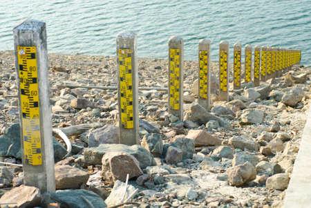Water Gage at Khun Dan Prakarnchon Dam in Thailand