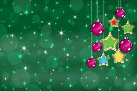 Christmas background with baubles and snowflakes photo