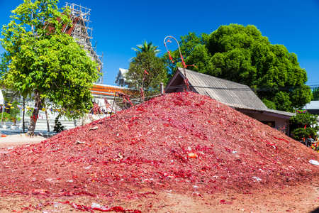 Mountain of Firecrackers in Thai  Temple