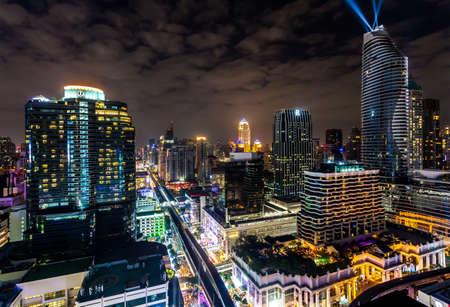 BANGKOK, THAILAND - DECEMBER 31, 2017: Cityscape of Bangkok before New Year Countdown around Ratchadamri road, Bangkok, Thailand